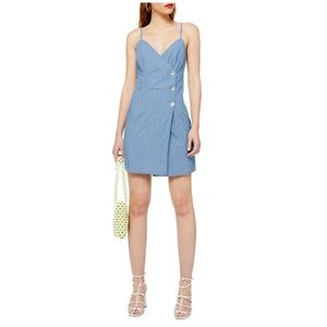 TOPSHOP Stripe Denim Wrap Minidress